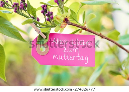 nature greeting card background - german for happy mothers day - stock photo