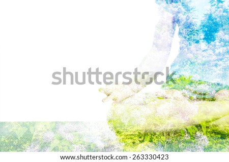 Nature harmony healthy lifestyle concept - double exposure clouse up  image of  woman doing yoga asana Padmasana (Lotus pose) cross legged position with Chin Mudra - psychic gesture of consciousness - stock photo