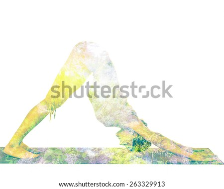 Nature harmony healthy lifestyle concept - double exposure image of  woman doing yoga asana downward facing dog pose (adho mukha svanasana) exercise isolated on white background - stock photo