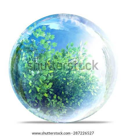nature in glass bubble - stock photo