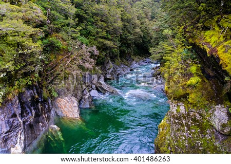 Nature landscape photo of crystal clear Blue Pools in World Heritage listed Mount Aspiring National Park, New Zealand   - stock photo