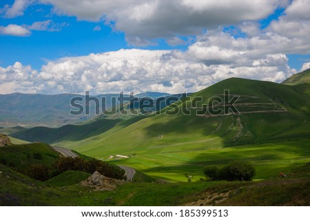 Nature landscape with cumulus clouds  - stock photo