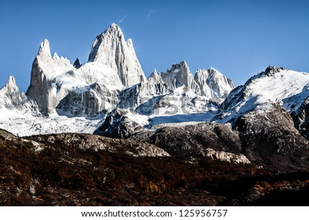 Nature landscape with Mt. Fitz Roy in Los Glaciares National Park, Patagonia, Argentina ( HDR image ) - stock photo