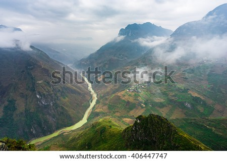 Nature majestic mountains landscape in Ha Giang, Vietnam - stock photo