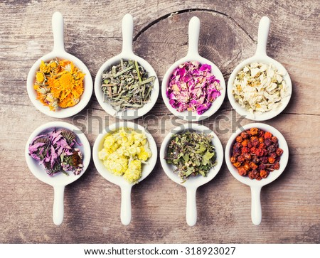 Nature medicine . Herbs on wooden background . - stock photo