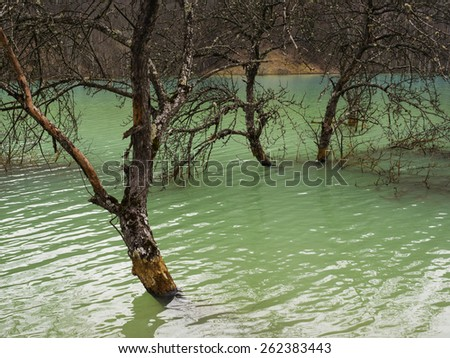 Nature pollution of a gold mine exploitation - stock photo