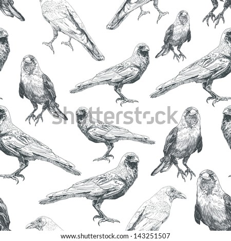 Nature seamless pattern with  Raven. - stock photo