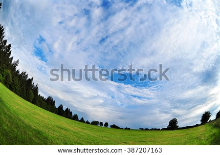 Nature sky environment wide fish-eye - stock photo