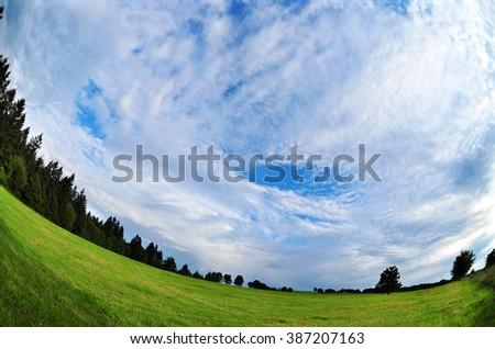 Nature sky environment wide fish-eye - stock photo