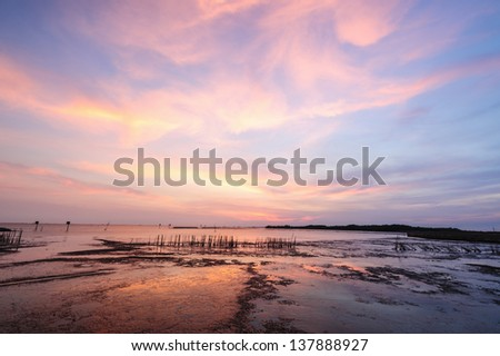 Nature tropical beach at beautiful sunset  in thailand - stock photo