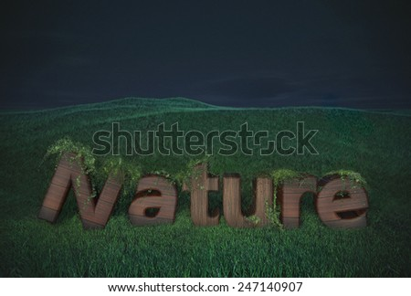 nature wood letter wooden type text logo billboard  hills green night concept ecology  - stock photo