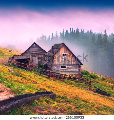 Nature wooden houses in a Carpathian mountains.  - stock photo