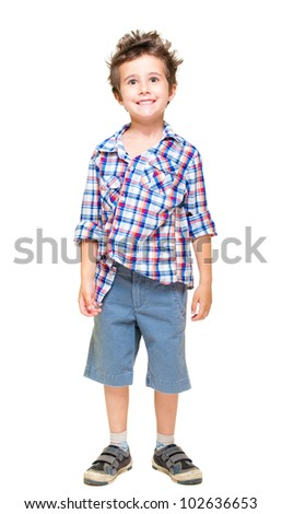 Naughty hairy little boy in shorts and shirt isolated on white - stock photo