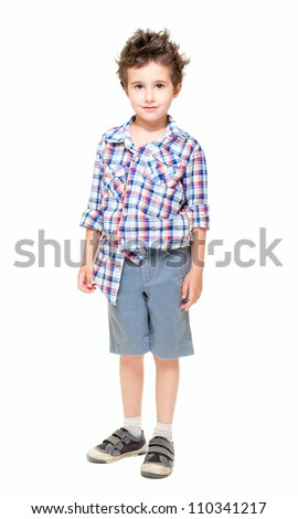 Naughty  little boy in shorts and shirt isolated on white - stock photo