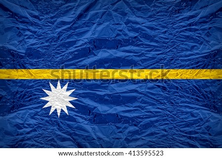 Nauru flag pattern overlay on floyd of candy shell, vintage border style - stock photo