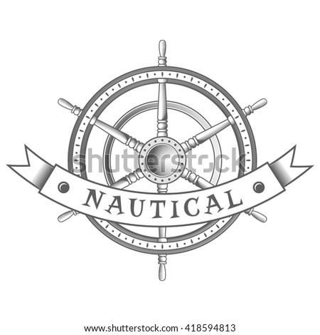 nautical label. vintage rudder icon and design element. - stock photo