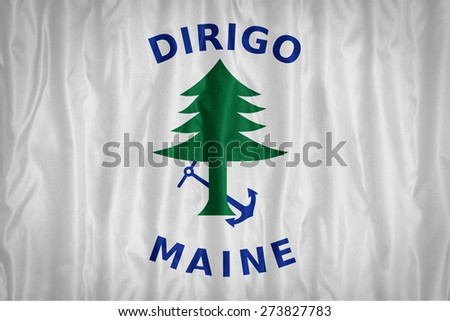 Nava Ensign of Maine flag pattern with a peace on fabric texture,retro vintage style - stock photo