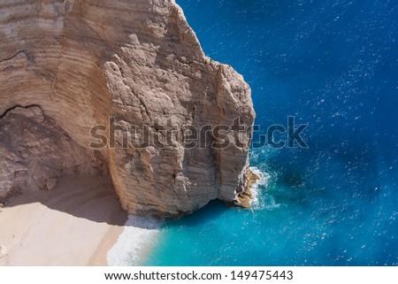 Navagio Beach Cliff, Zakynthos, Greece - stock photo