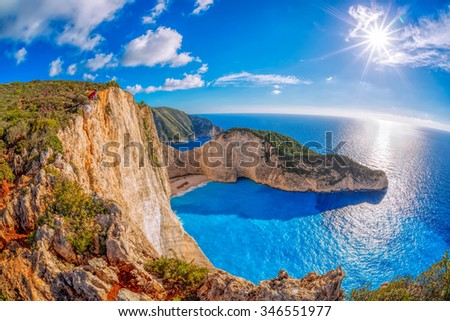 Navagio beach with shipwreck against sunset on Zakynthos island in Greece - stock photo