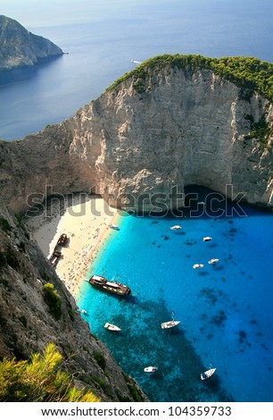 Navagio, shipwreck bay, the island of Zakynthos, Greece - stock photo