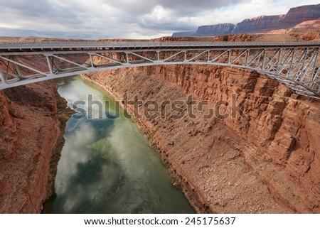 Navajo Bridge over Colorado river in Marble canyon, Southwest USA - stock photo