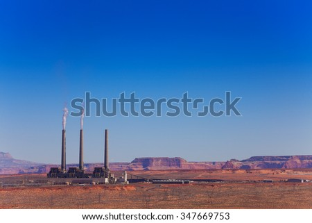 Navajo power plant near the Page - stock photo