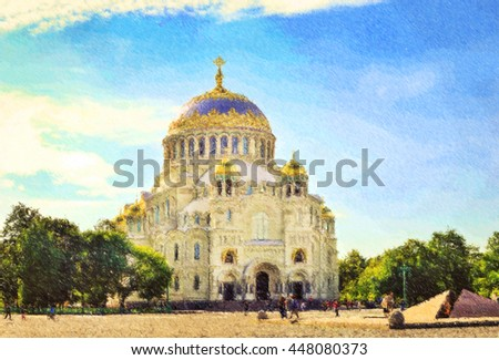 Naval Cathedral. In center is a military naval Cathedral, funds for the construction of which has been collected by the sailors, Kronstadt, Russia. Photo stylized illustration - stock photo