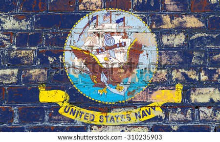 Naval Forces US flag painted on old brick wall texture background - stock photo