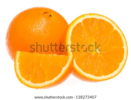 Navel seedless orange with a second fruit at the apex visible - stock photo