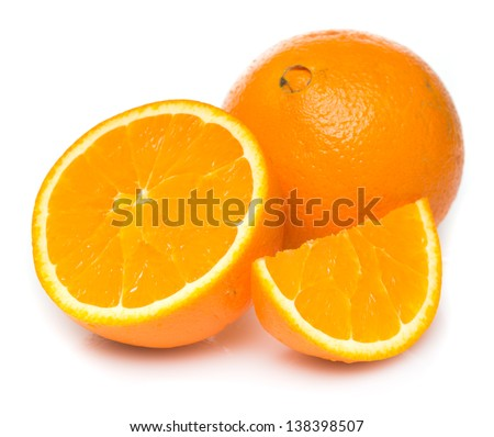 Navel seedless oranges isolated on white - stock photo