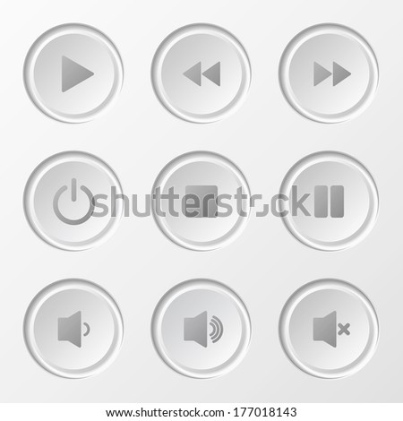 Navigation Button Set for media player.  - stock photo