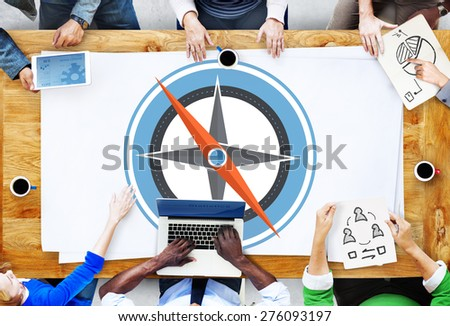 Navigation Compass Direction Exploration Guide Journey Concept - stock photo