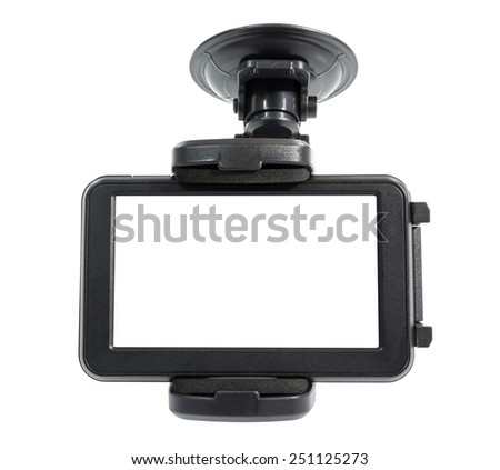 Navigation devices with holder isolated on white, clipping path include in file. - stock photo
