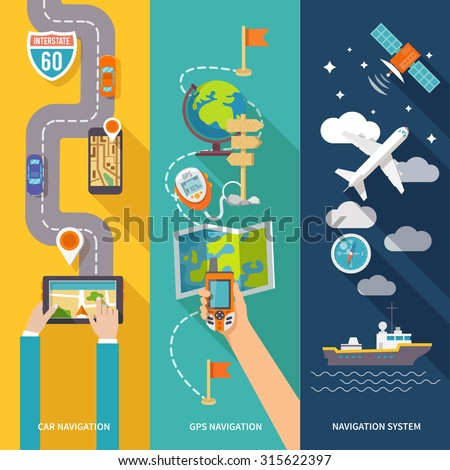 Navigation GPS routing system vertical  flat banners set with aircraft vessel position velocity detector abstract  illustration - stock photo