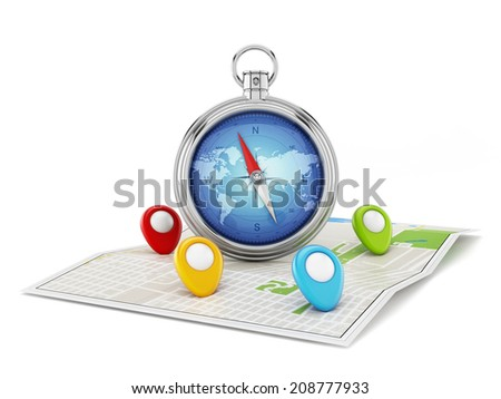 Navigation map with compass and markers isolated - stock photo
