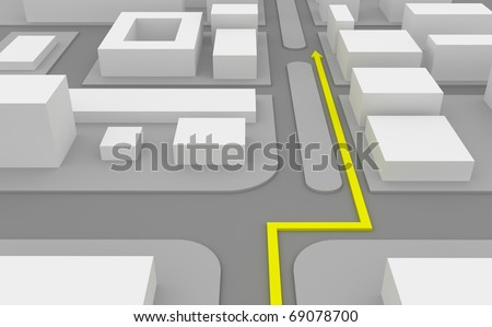 Navigation route on 3d map - stock photo