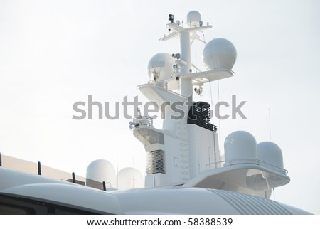 Navigation system of luxurious yacht - stock photo