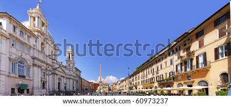 Navona Square, Rome, Italy. Panorama. - stock photo