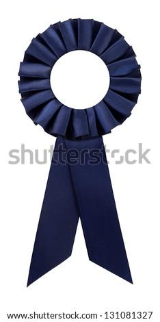 Navy blue award rosette prize ribbon blank - stock photo