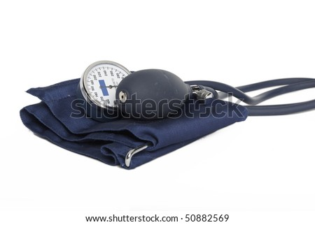Navy Blue Blood Pressure Cuff - stock photo
