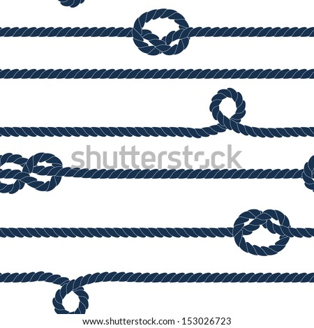 Navy rope and marine knots seamless pattern. Raster version, editable vector file also available at my port. - stock photo