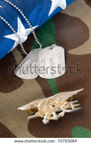 Navy SEAL trident on camouflage - stock photo