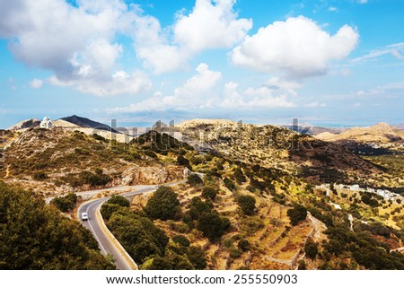 Naxos Island panoramic mountain view. Greece. - stock photo