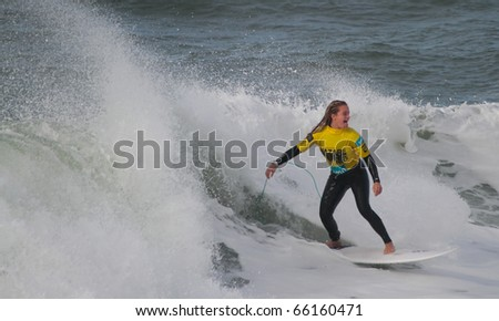 NAZARE, PORTUGAL - NOVEMBER 27 : Maria Abecassis in Nazare Surf Pro 2010 in women competition November 27, 2010 in Nazare, Portugal - stock photo
