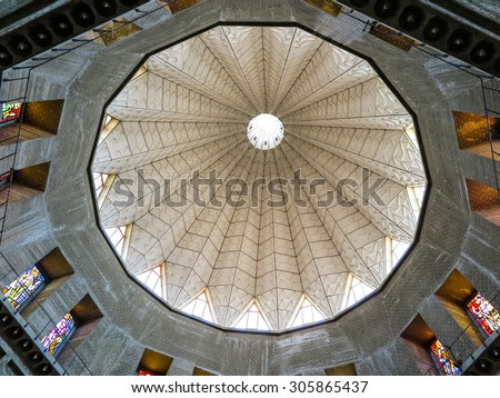 NAZARETH, ISRAEL July 8, 2015; dome of the Basilica of the Annunciation in Nazareth view from inside, Israel july 8, 2015 - stock photo
