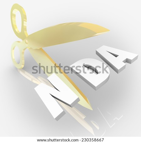 NDA Non-Disclosure Agreement 3d letters in an acronym  cut by scissors to illustrate violation or breaking contract or restriction on sharing trade secrets - stock photo