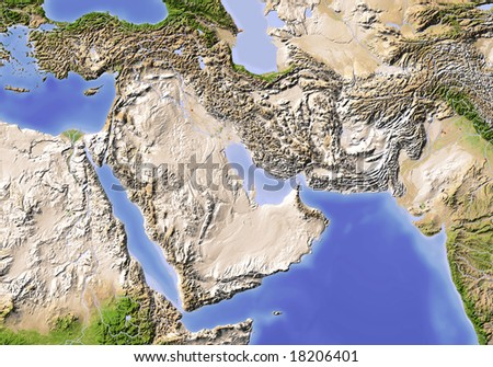 Near East from Egypt to Pakistan. Shaded relief map, colored according to vegetation. Data source: NASA - stock photo