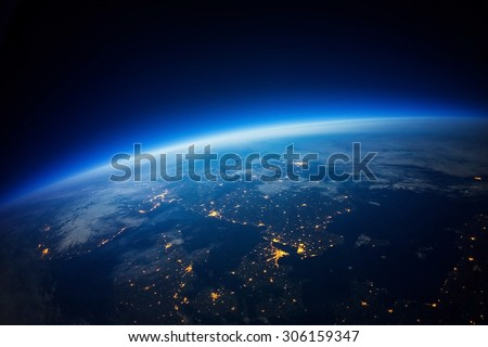 Near Space photography - 20km above ground / real photo (Elements of this image furnished by NASA) - stock photo