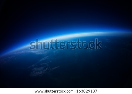 Near Space photography - 20 km above ground / real photo taken from weather balloon / universe stratosphere / - stock photo