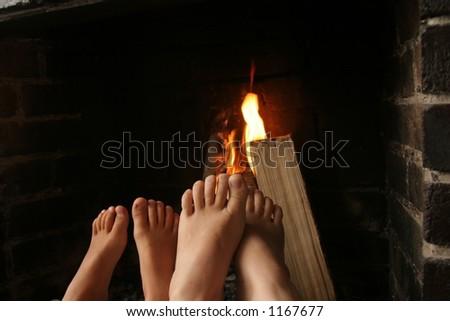 Near the fireplace - stock photo